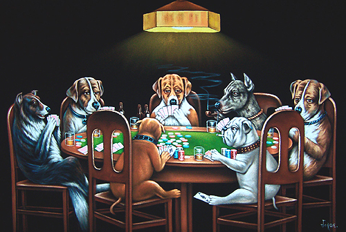 Dogs at poker table painting how to make steam roulette