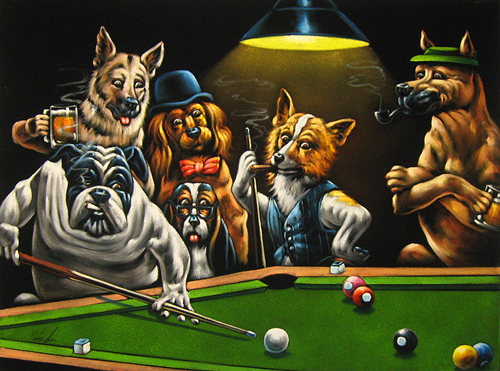 Velvet Painting Of Dogs Playing Pool Billiards 24 X18 Or 36 X
